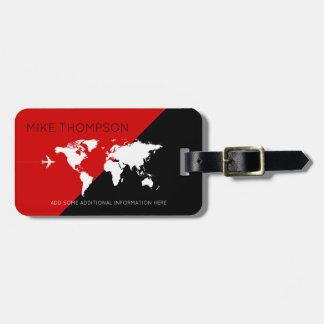Etiqueta De Bagagem viagem preto vermelho elegante, moderno &