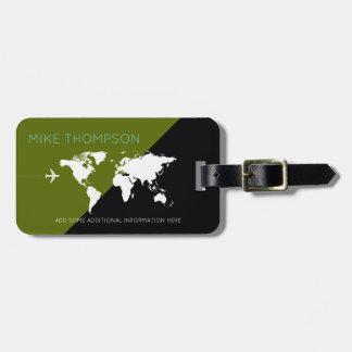 Etiqueta De Bagagem viagem verde/preto moderno & geométrico do mundo