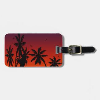Etiqueta De Bagagem Viajante tropical do por do sol de Tahiti