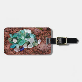 Etiqueta De Bagagem Vidro do mar no Tag da bagagem da rocha vulcânica