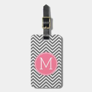 Etiqueta De Bagagem Vigas cinzentas e cor-de-rosa com monograma feito