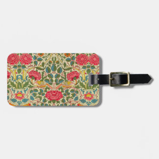 Etiqueta De Bagagem Vintage floral do rosa de William Morris