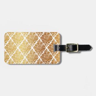 Etiqueta De Bagagem Vintage, ouro, damasco, floral, teste padrão,
