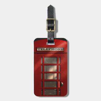 Etiqueta De Bagagem Vintage Phonebox vermelho britânico