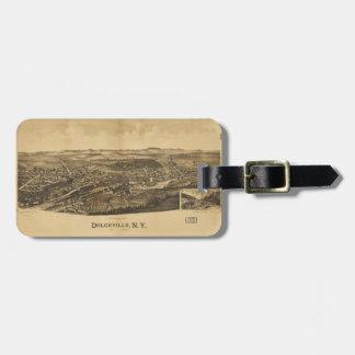 Etiqueta De Bagagem Vista aérea de Dolgeville, New York (1890)