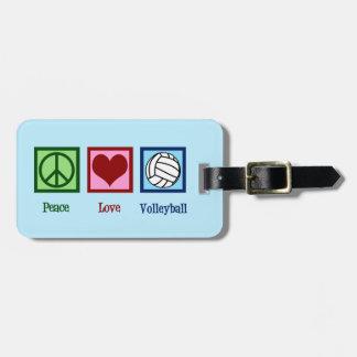 Etiqueta De Bagagem Voleibol bonito do amor da paz