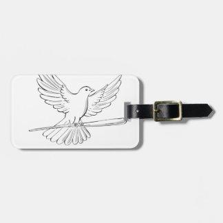Etiqueta De Bagagem Vôo do pombo ou da pomba com desenho do bastão