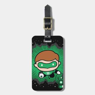 Etiqueta De Bagagem Vôo verde da lanterna de Chibi através do espaço