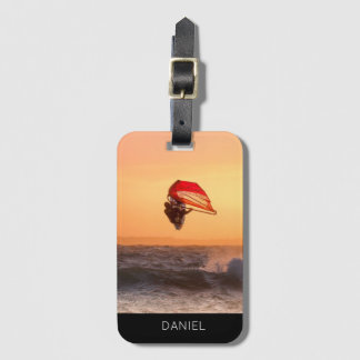 Etiqueta De Bagagem Windsurfing no costume personalizado surfista do