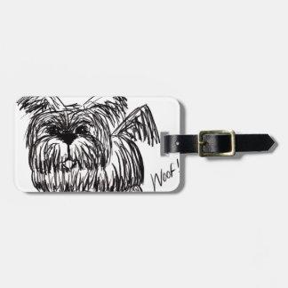 Etiqueta De Bagagem Woof um cão do espanador de poeira