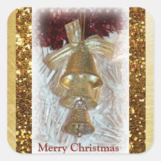Etiqueta de Bels do ouro do Feliz Natal