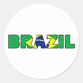 Etiqueta de Brasil Adesivos Redondos