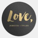 Etiqueta de brilho do favor do casamento do amor adesivo