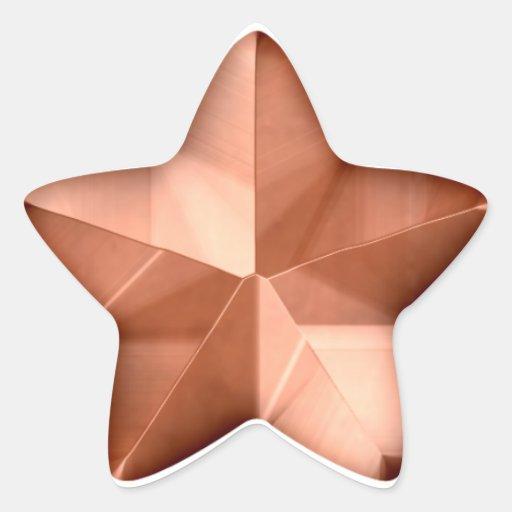 Etiqueta de bronze da estrela adesivo em forma de estrela