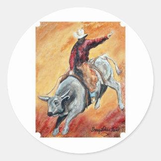 Etiqueta de Bull e de cavaleiro Adesivo Redondo