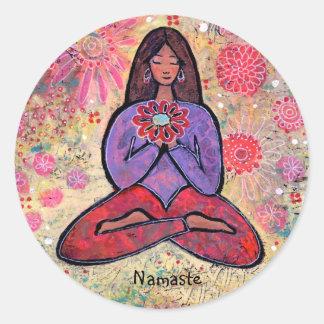 Etiqueta de cabelo da menina da ioga de Namaste