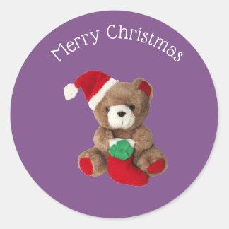 Etiqueta de Chrismas do urso de ursinho do Feliz