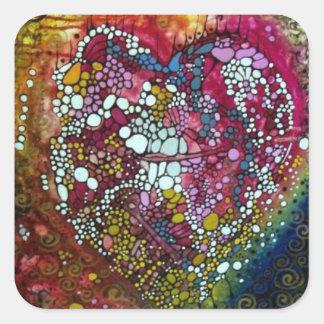 Etiqueta de dissolução do coração Splattered! Adesivo Quadrado