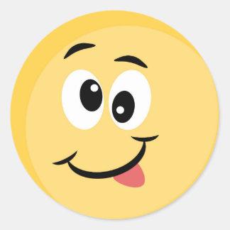 Etiqueta de Emoji com cara feliz