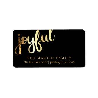 Etiqueta de endereço alegre da tipografia do ouro