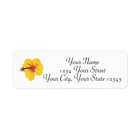 Etiqueta de endereço amarela do hibiscus