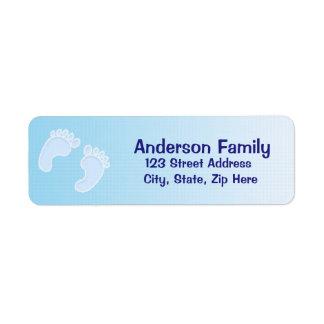 Etiqueta de endereço azul da pegada do bebé