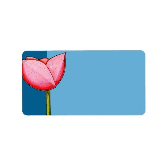 Etiqueta de endereço azul das flores simples
