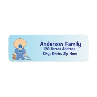 Etiqueta de endereço azul de Blankie do bebé