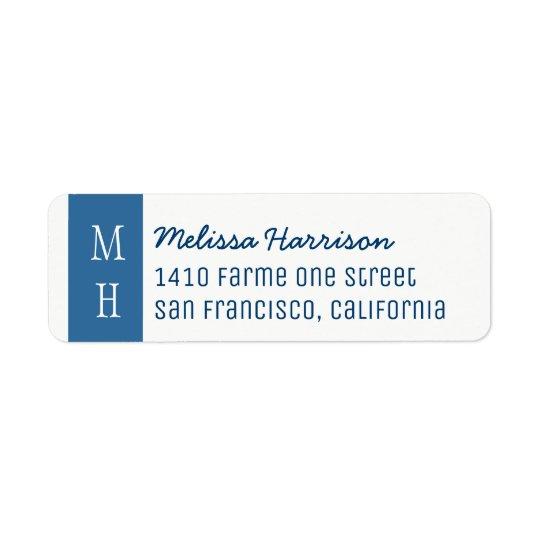etiqueta de endereço azul moderna com nome do