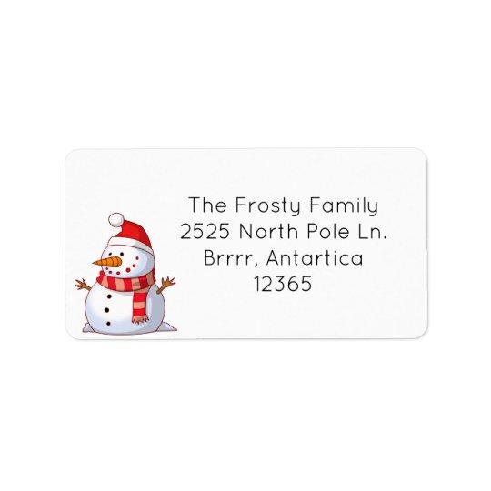 Etiqueta de endereço bonito do boneco de neve