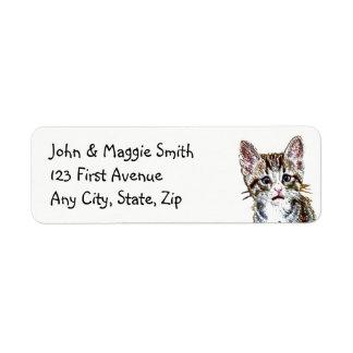 Etiqueta de endereço bonito do gatinho feito sob