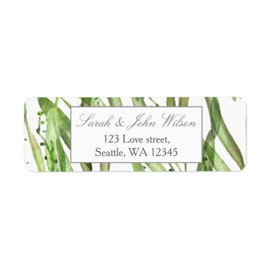 Etiqueta de endereço botânica do casamento das