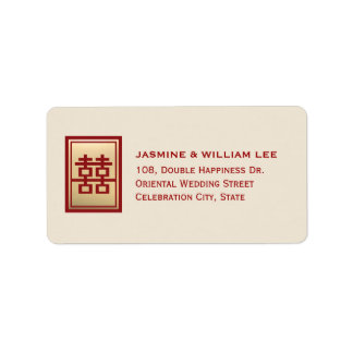 Etiqueta de endereço chinesa do casamento da