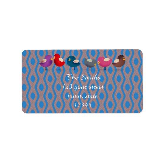Etiqueta de endereço colorida bonito dos pássaros
