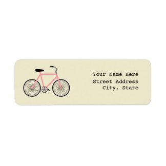 Etiqueta de endereço cor-de-rosa da bicicleta