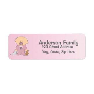 Etiqueta de endereço cor-de-rosa de Blankie do