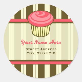 Etiqueta de endereço cor-de-rosa do cupcake - adesivo redondo
