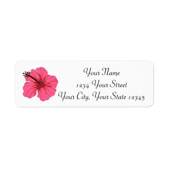 Etiqueta de endereço cor-de-rosa do hibiscus