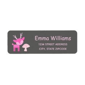Etiqueta de endereço cor-de-rosa dos cervos e do