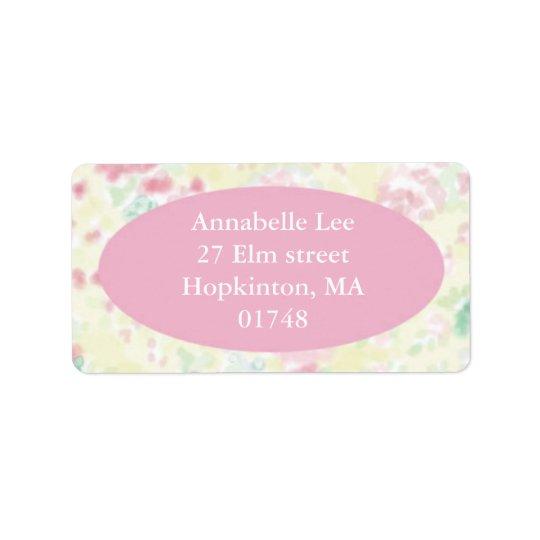 Etiqueta de endereço cor-de-rosa e amarela de