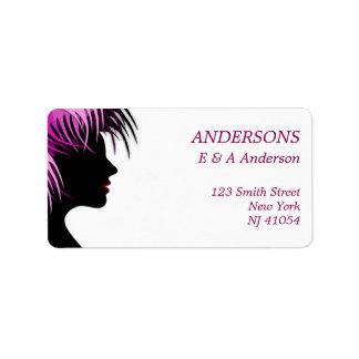 Etiqueta de endereço cor-de-rosa moderna do cabelo
