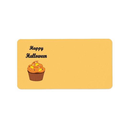 Etiqueta De Endereço Cupcake feliz do Dia das Bruxas