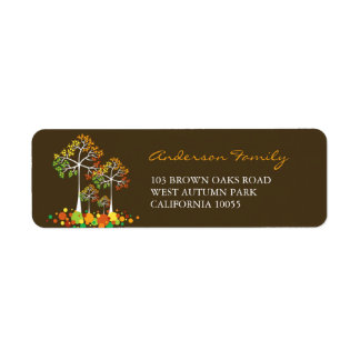 Etiqueta de endereço da acção de graças do outono