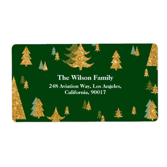 Etiqueta de endereço da árvore de Natal do ouro
