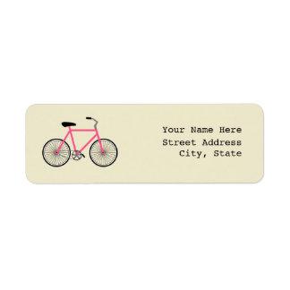 Etiqueta de endereço da bicicleta do rosa quente