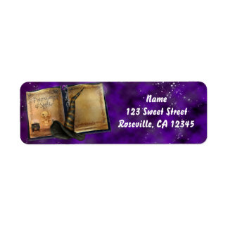 Etiqueta de endereço da bruxa do Dia das Bruxas do