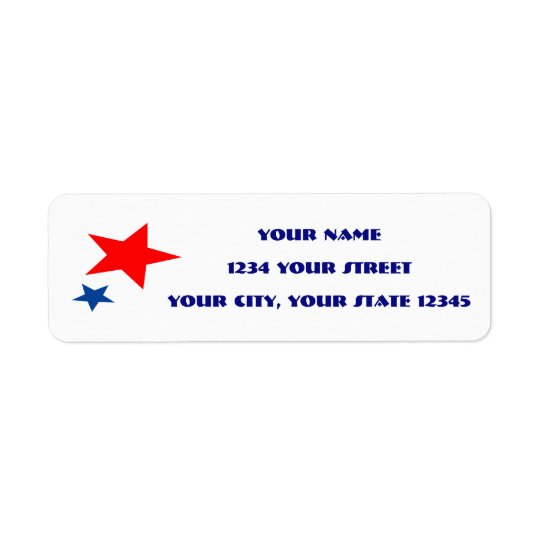Etiqueta de endereço da estrela vermelha e azul
