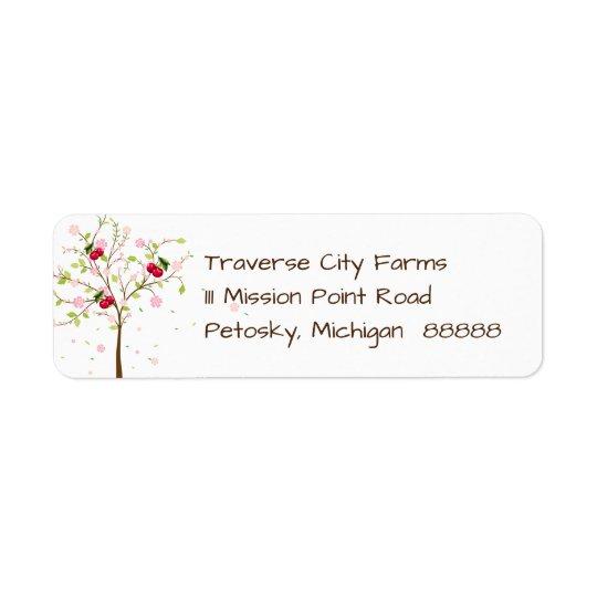 Etiqueta de endereço da fazenda da cereja