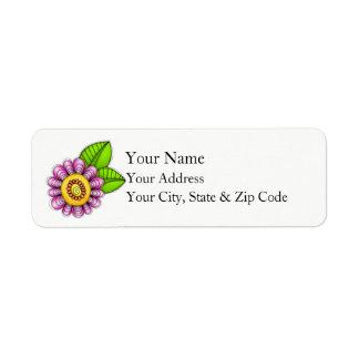 Etiqueta de endereço da flor do Doodle da aguarela
