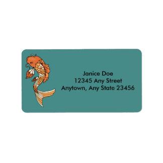 Etiqueta de endereço da lagoa de Koi